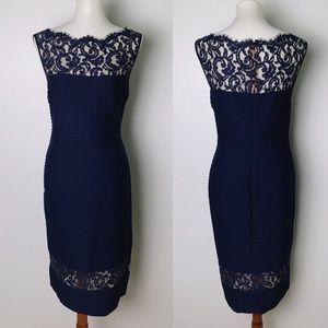 TADASHI SHOJI Pintucked Illusion Dress